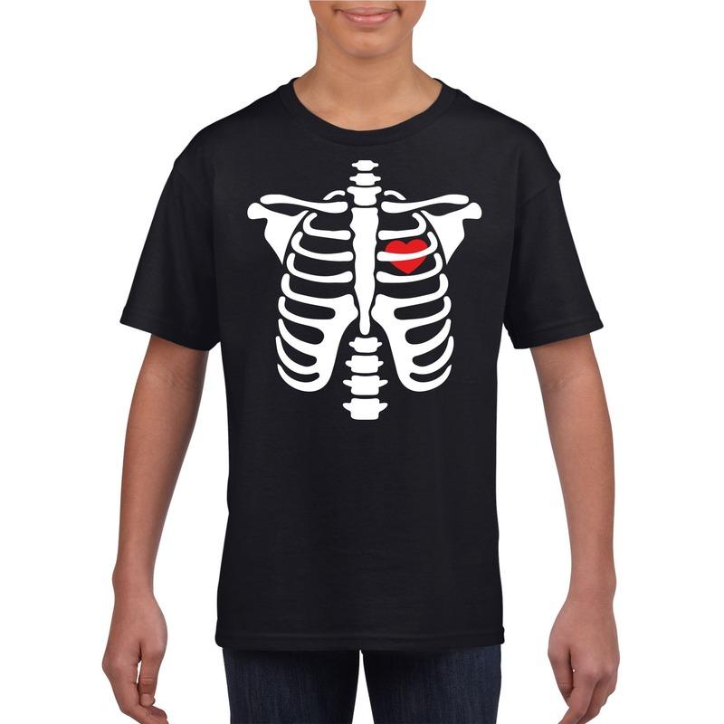 Halloween - Halloween skelet t-shirt zwart kinderen