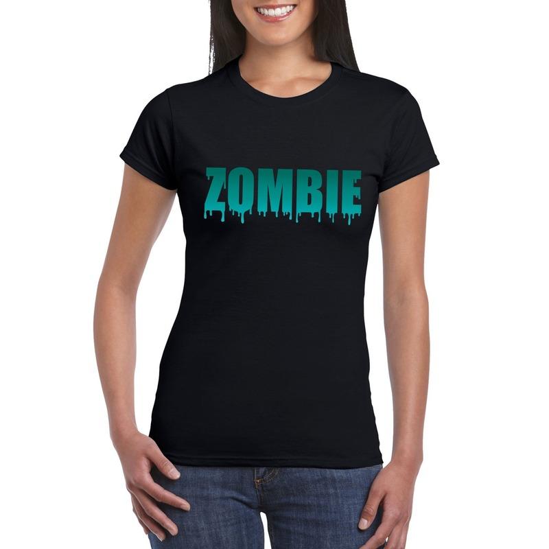 Halloween - Halloween zombie tekst t-shirt zwart dames