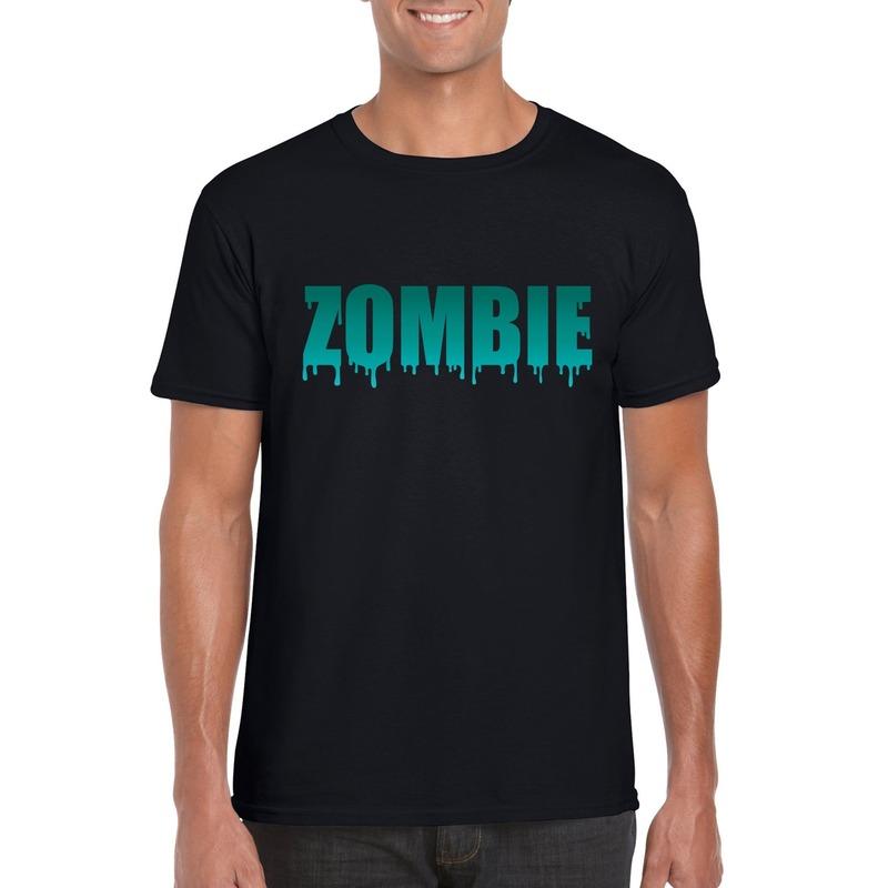 Halloween - Halloween zombie tekst t-shirt zwart heren