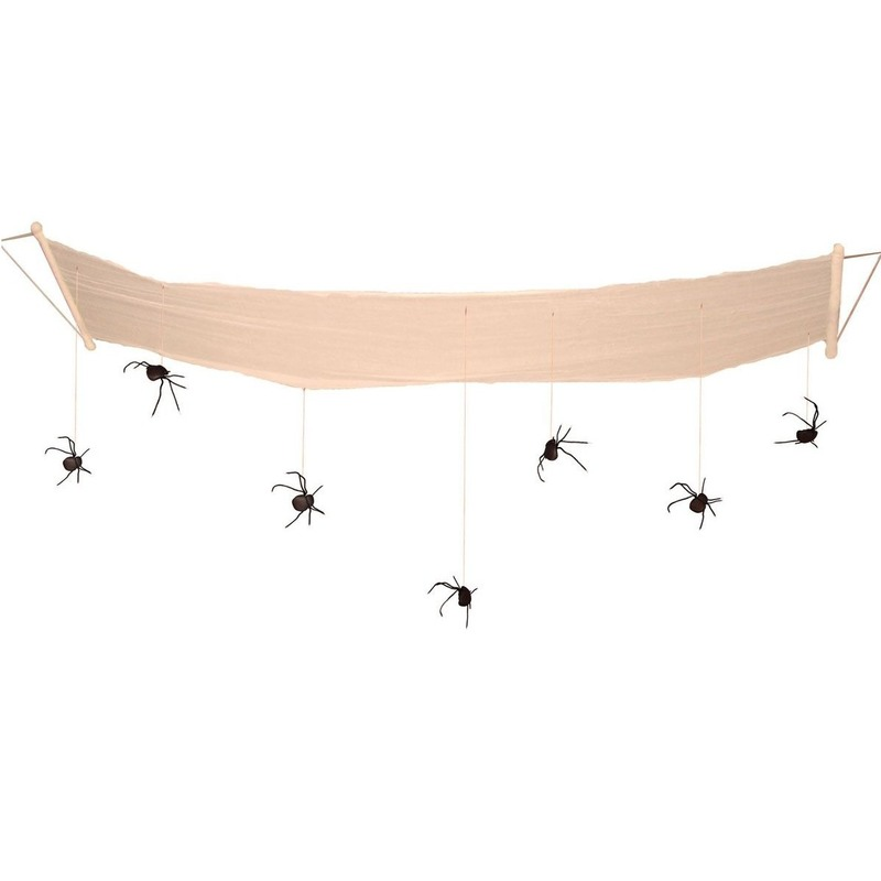 Halloween - Hangdecoratie halloween spinnen aan hangmat 310 cm