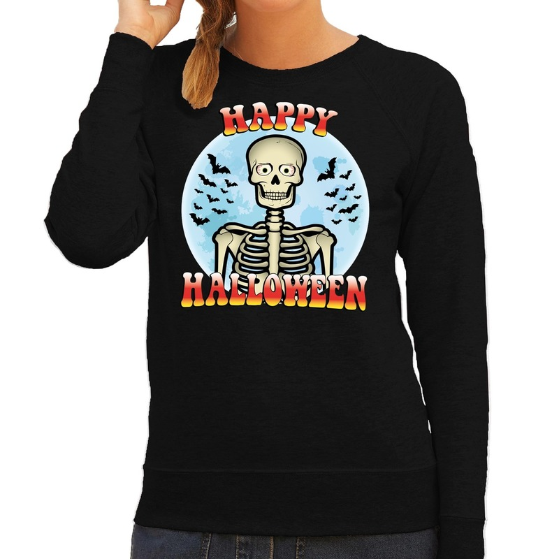 Halloween - Happy Halloween skelet verkleed sweater zwart voor dames