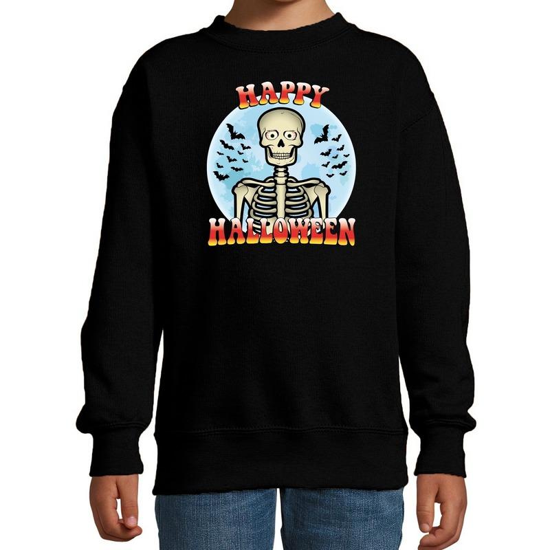 Halloween - Happy Halloween skelet verkleed sweater zwart voor kinderen