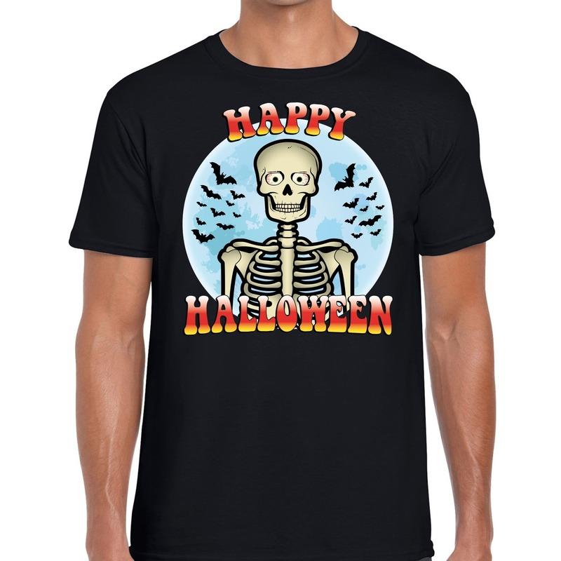 Halloween - Happy Halloween skelet verkleed t-shirt zwart voor heren