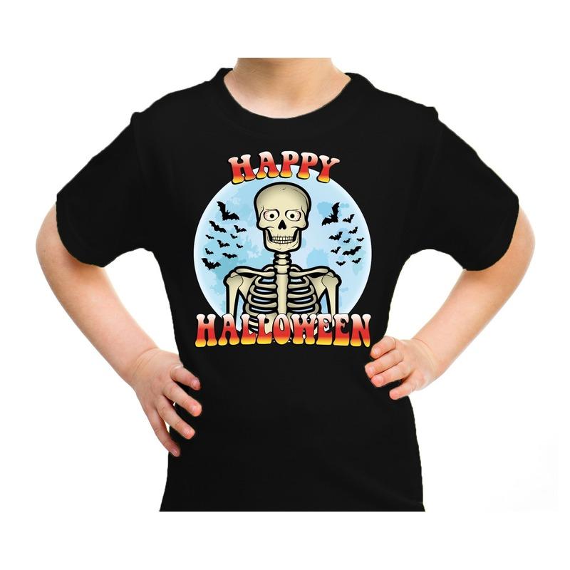 Halloween - Happy Halloween skelet verkleed t-shirt zwart voor kinderen