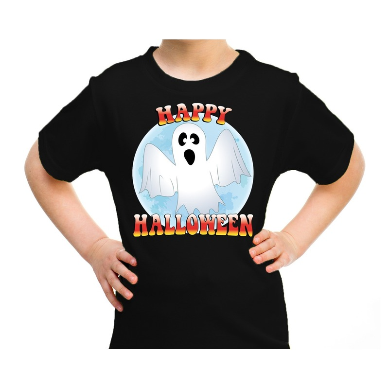 Halloween - Happy Halloween spook verkleed t-shirt zwart voor kinderen
