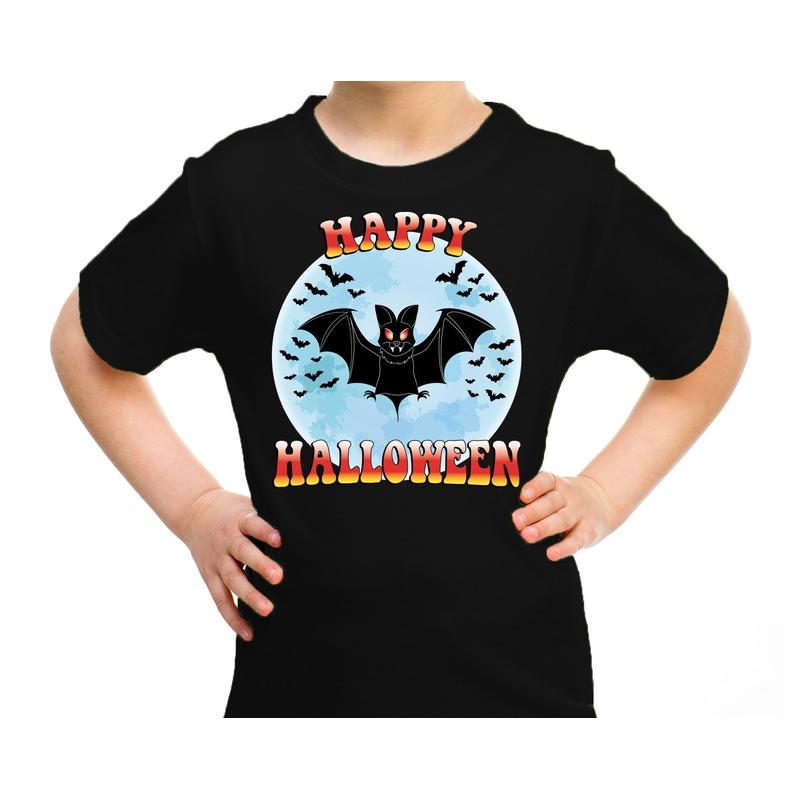 Halloween - Happy Halloween vleermuis verkleed t-shirt zwart voor kinderen