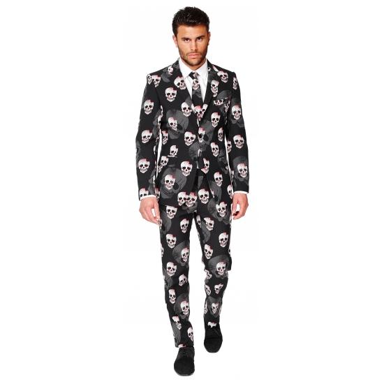 Halloween heren kostuum met doodshoofden print