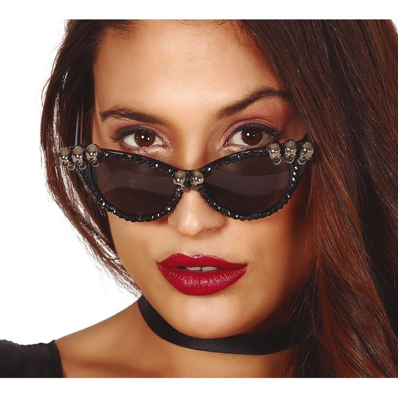 Halloween - Horror verkleed zonnebril met schedels voor dames