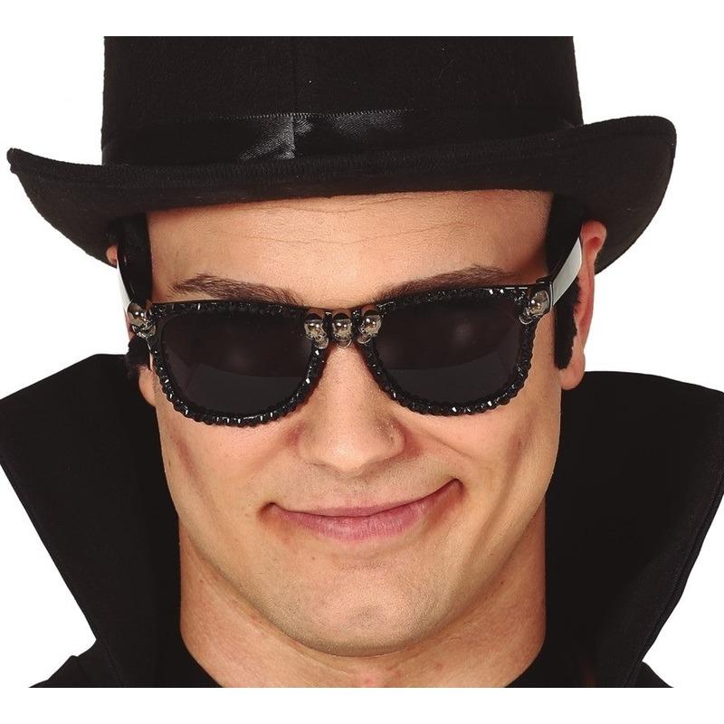 Halloween - Horror verkleed zonnebril met schedels voor heren