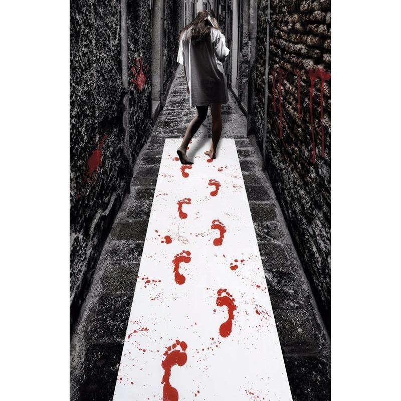Halloween loper met bloed adrukken