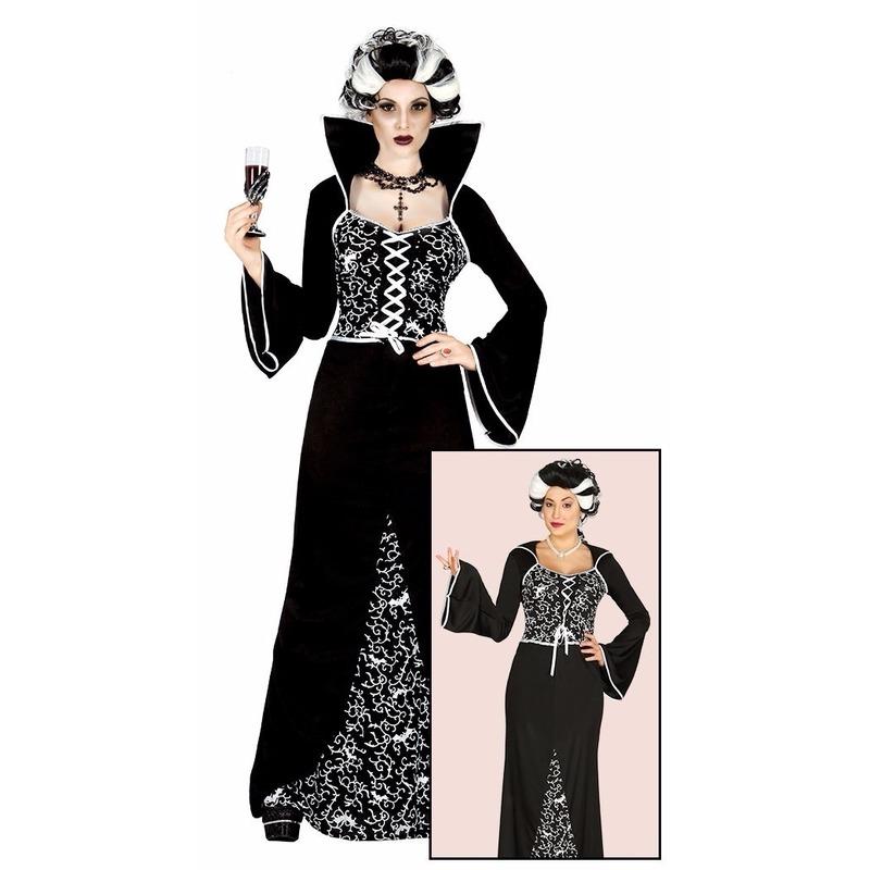Halloween - Luxe vampieren halloween jurk zwart/wit voor dames