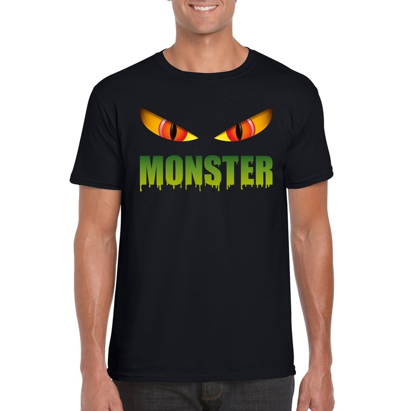 Halloween monster ogen t-shirt zwart heren