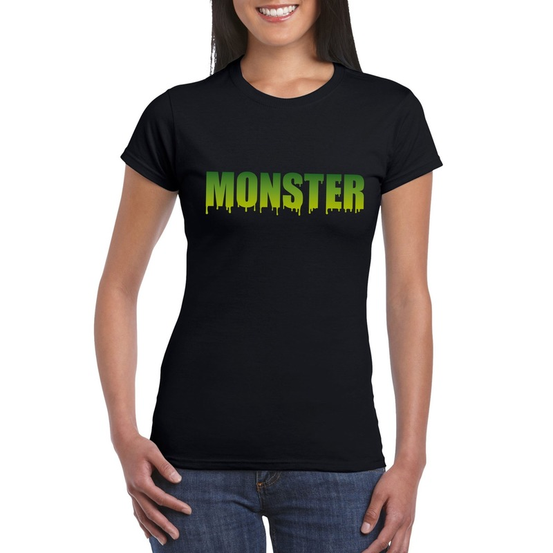 Halloween monster tekst t-shirt zwart dames