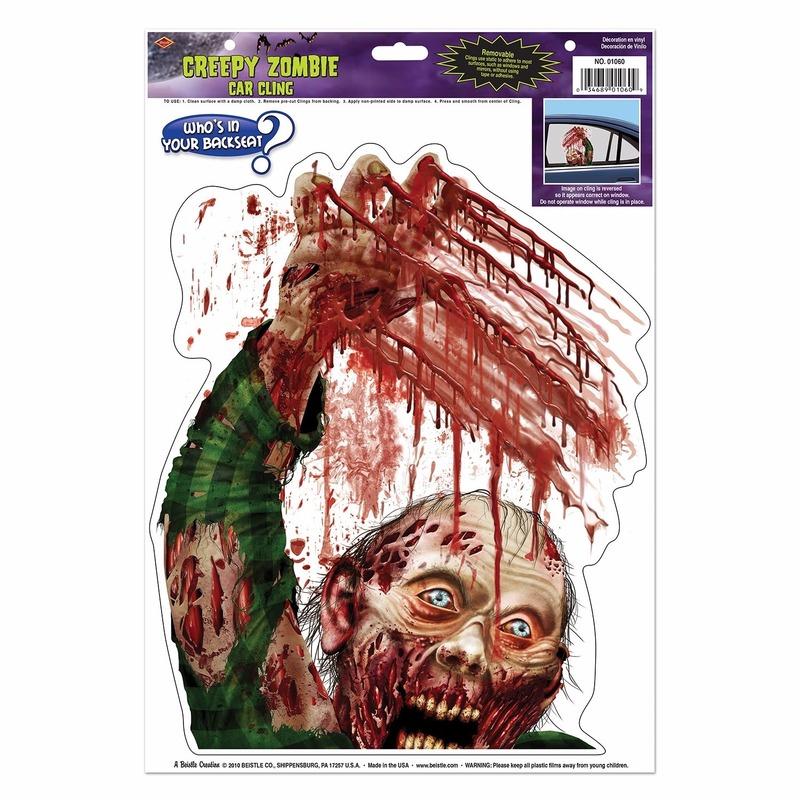Halloween raamsticker zombie met bloed