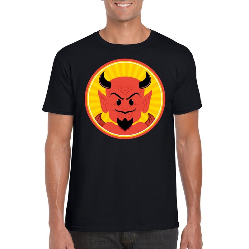 Halloween rode duivel t-shirt zwart heren
