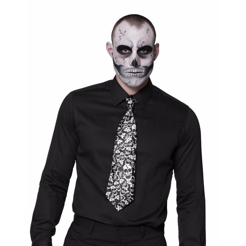 Halloween stropdas met doodshoofden