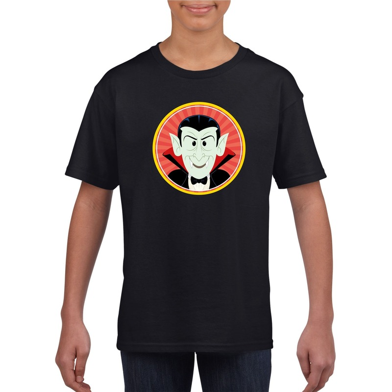 Halloween vampier/Dracula t-shirt zwart kinderen