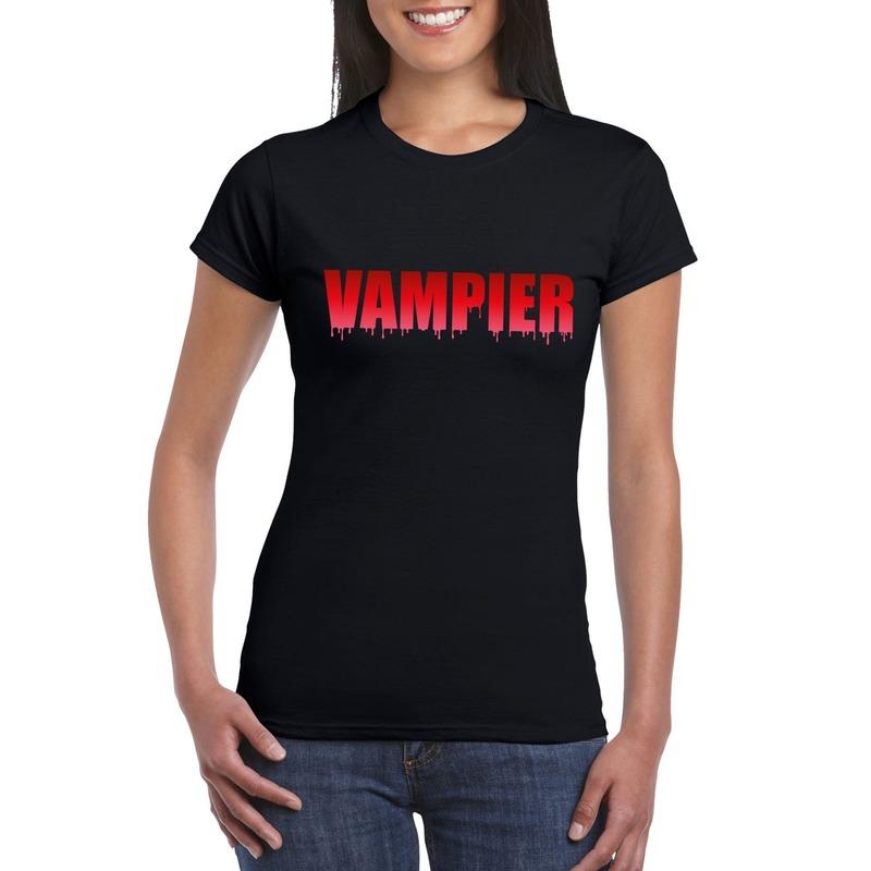 Halloween vampier tekst t-shirt zwart dames