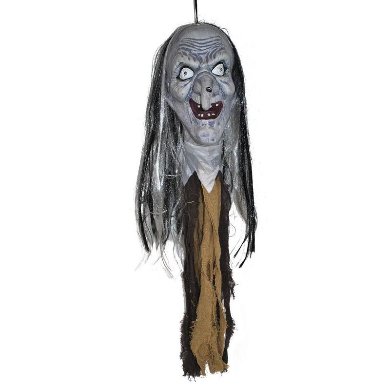 Halloween versiering heksenhoofd met licht 70 cm