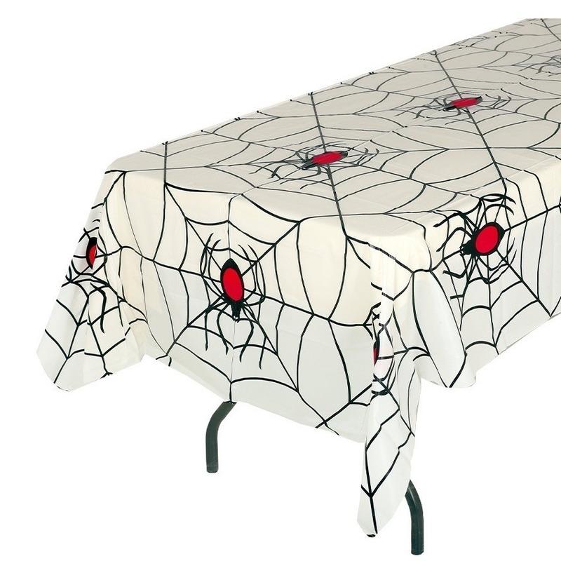 Halloween - Wit halloween spinnenweb tafelkleed 135 x 270 cm