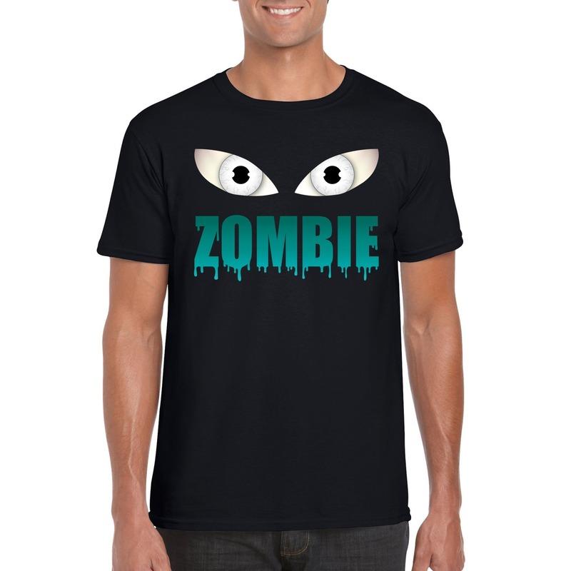 Halloween zombie ogen t-shirt zwart heren