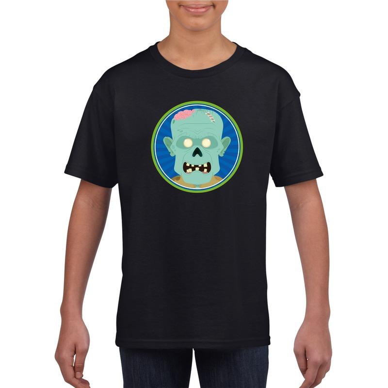 Halloween zombie t-shirt zwart kinderen