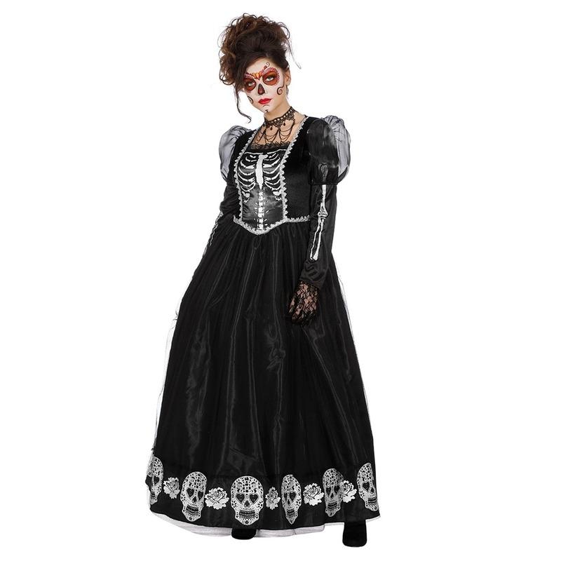 Halloween - Zwarte gothic Day of the Dead halloween jurk voor dames