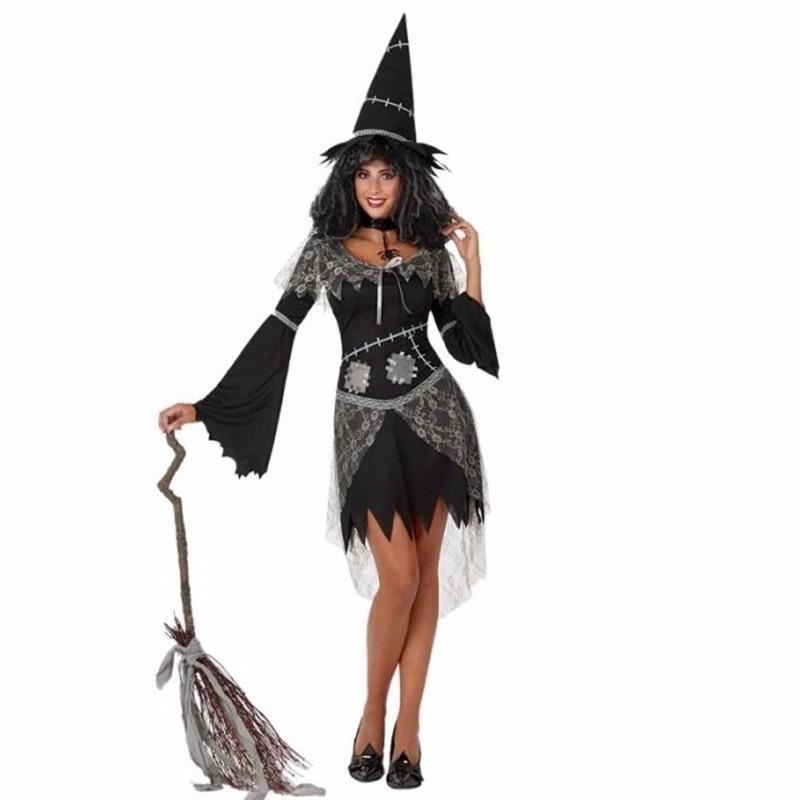 Halloween zwarte heksen kostuum voor dames
