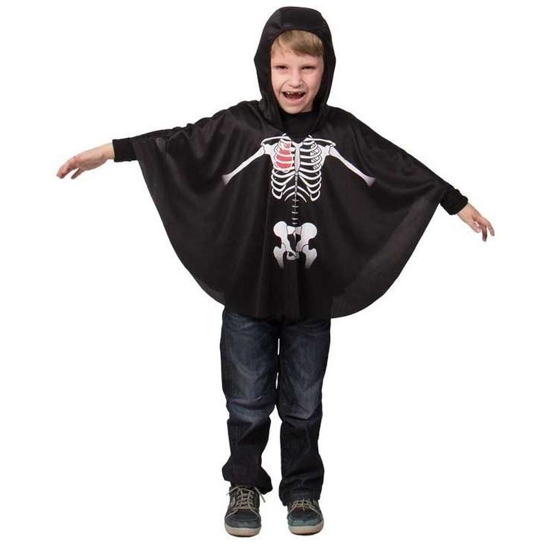 Halloween - Zwarte skelet verkleed cape voor kinderen