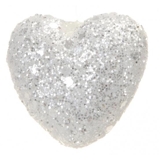 Hangdecoratie sneeuw hartjes 2.5 cm