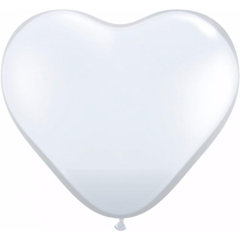 Hartjes ballonnen wit 90x stuks