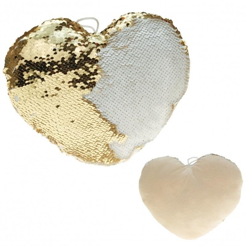 Hartjes kussen goud/creme metallic met pailletten 40 cm