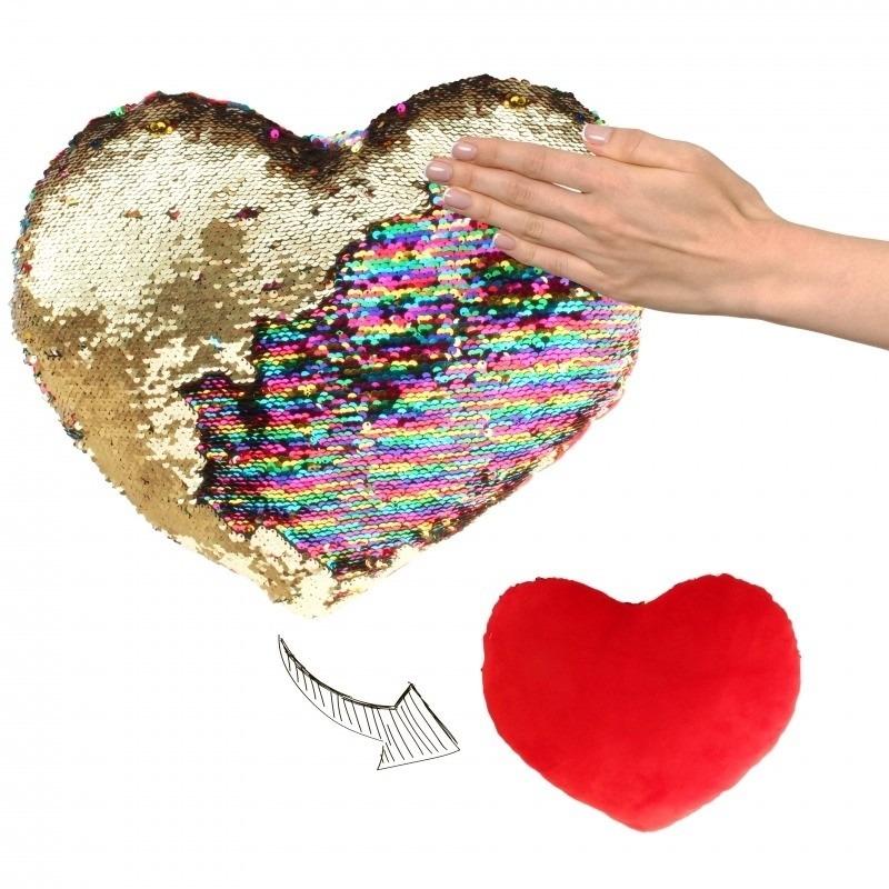 Hartjes kussen goud/rood metallic met pailletten 50 cm