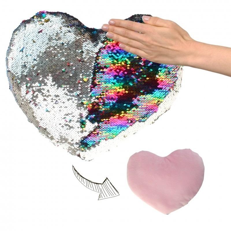 Hartjes kussen zilver/roze metallic met pailletten 50 cm