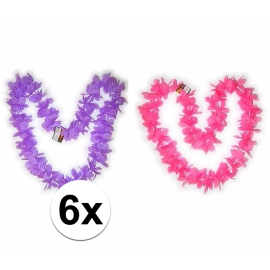 Hawaii bloemenkransen pakket roze/paars 6 stuks