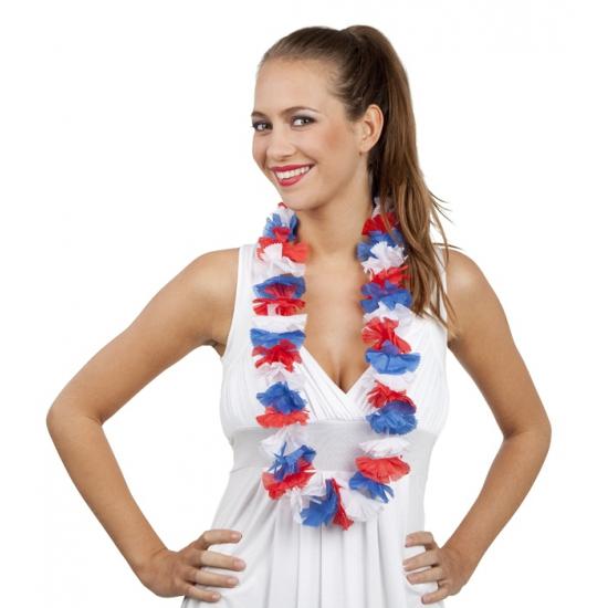 Hawaii krans rood/wit/blauw bloemen slinger