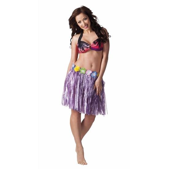 Hawaii rokje paars 45 cm voor dames