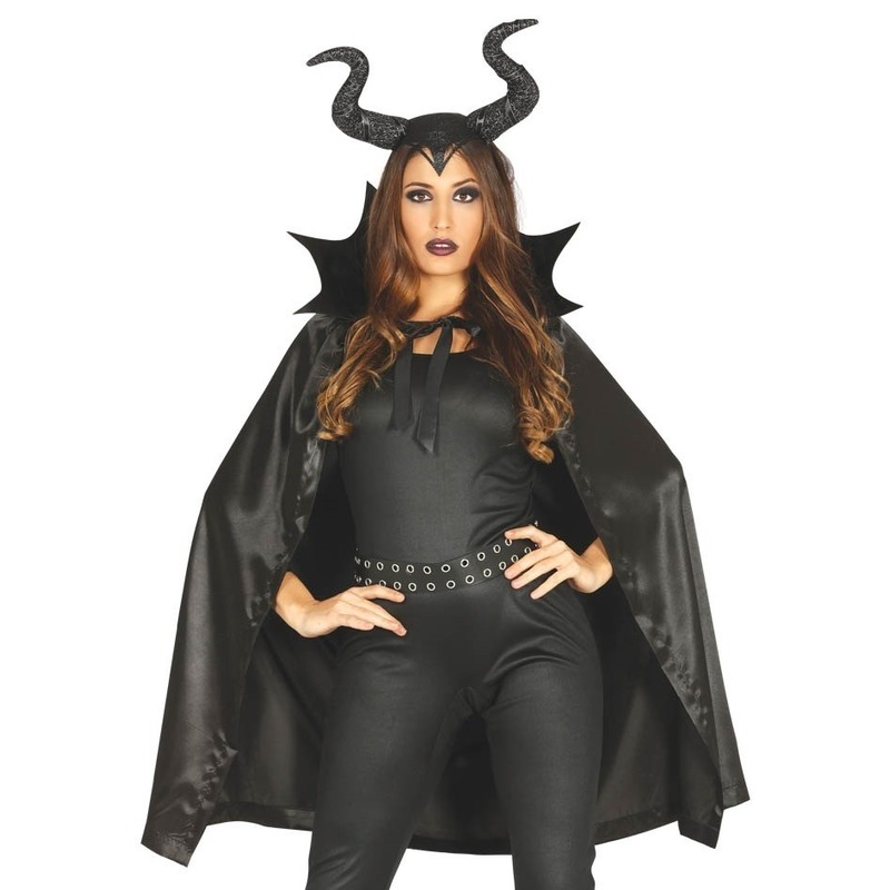 Heks met hoorns Halloween kostuum cape voor dames