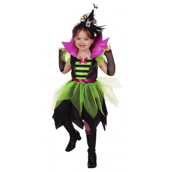 Heksen jurk groen/zwart voor kinderen
