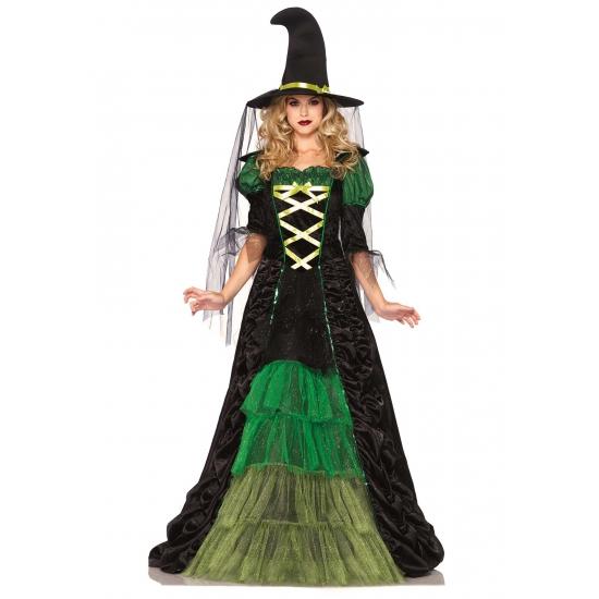 Heksen kostuum groen met zwart