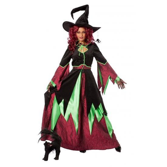 Heksen kostuum groen/rood vrouwen