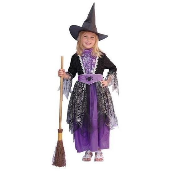 Heksen kostuum zwart/paars kinderen