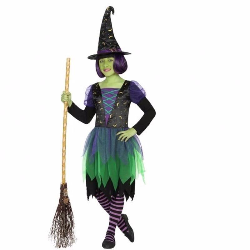 Heksen outfit groen/zwart voor meisjes