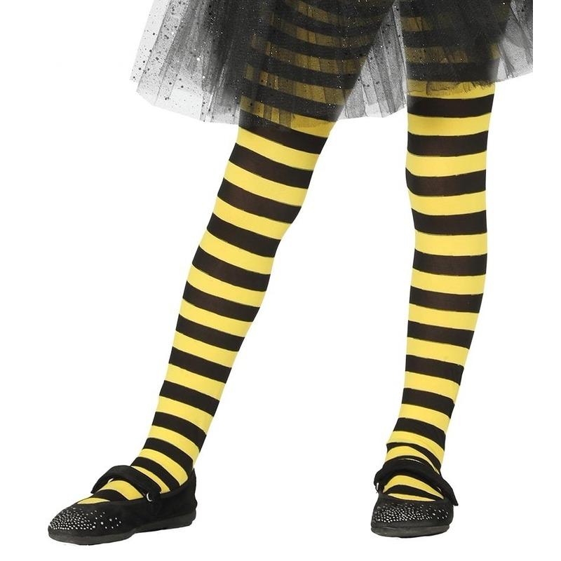 Heksen verkleedaccessoires panty maillot zwart/geel voor meisjes