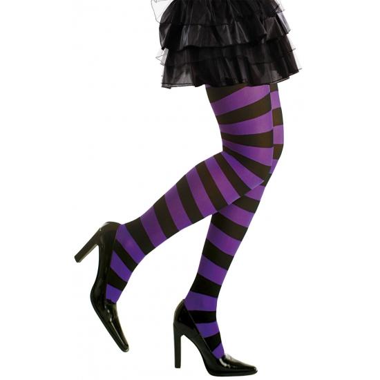 Heksen verkleedaccessoires panty zwart/paars voor dames maat XL