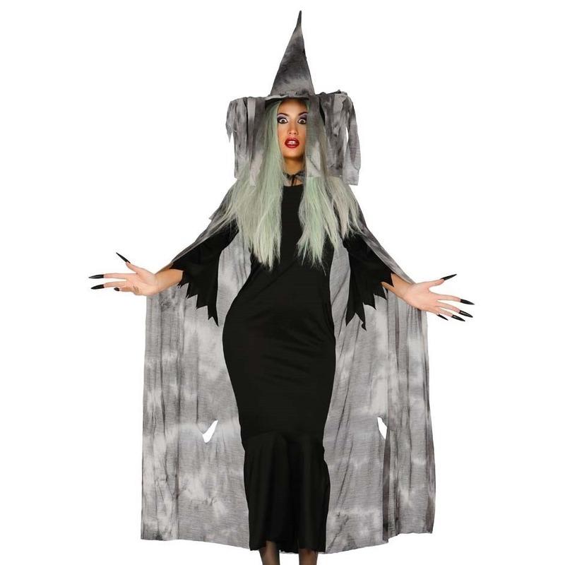 Heksencape Halloween kostuum met hoed voor dames