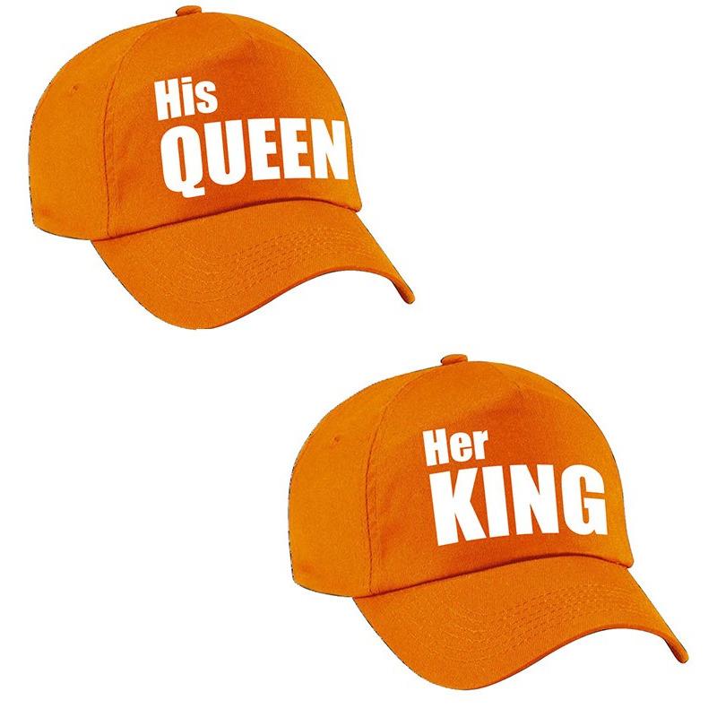 Her King - His Queen petten oranje met witte letters volwassenen