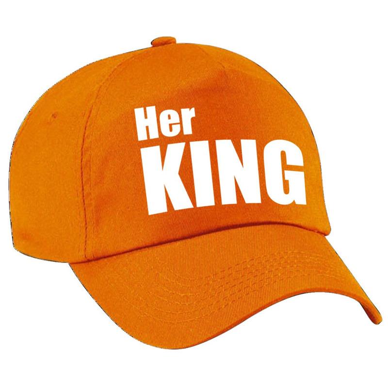 Her King pet - cap oranje met witte letters heren