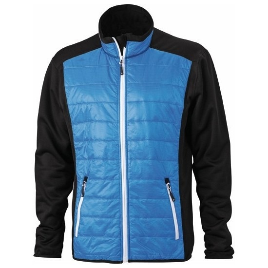 Heren hybride jas zwart blauw en wit