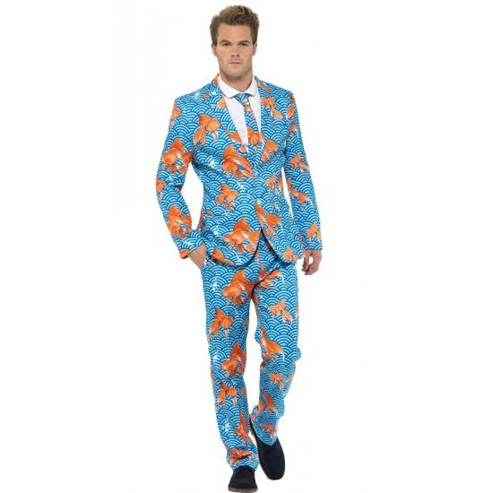 Heren kostuum goudvissen print